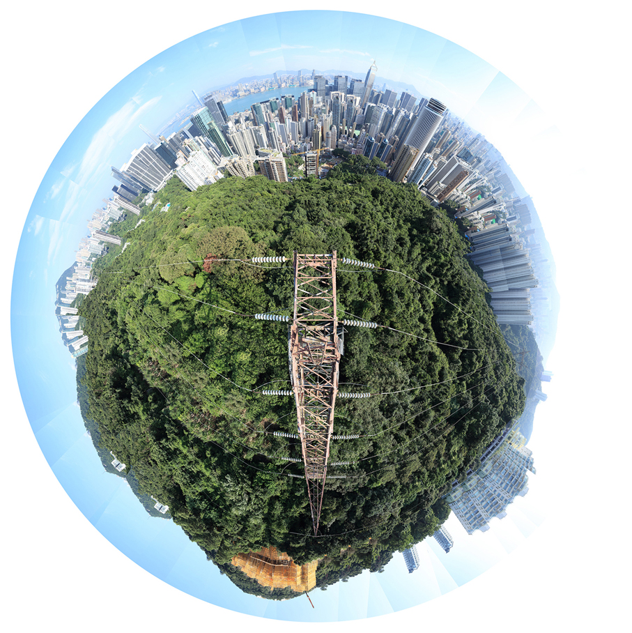 Electricity Tower - Wan Chai I – Hong Kong – 6-10-2016 - 360 degree conceptual landscape photography from the summit of a transmission tower. Turning urban exploring and adventure into conceptual art